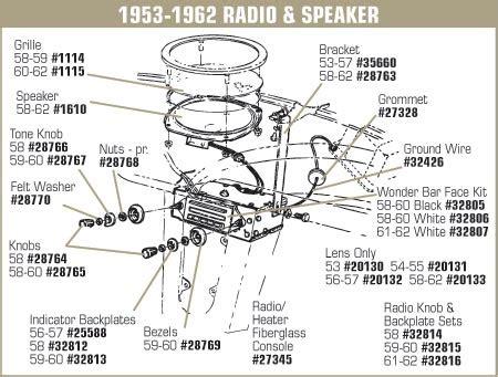 Interior Light Wiring Diagram For 1993 Corvette by 1 32805 Corvette Radio Kit Wonderbar Black 1958 1959