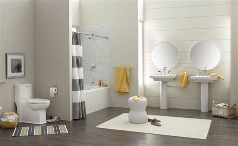 Trendy And Refreshing Gray And Yellow Bathrooms That Delight