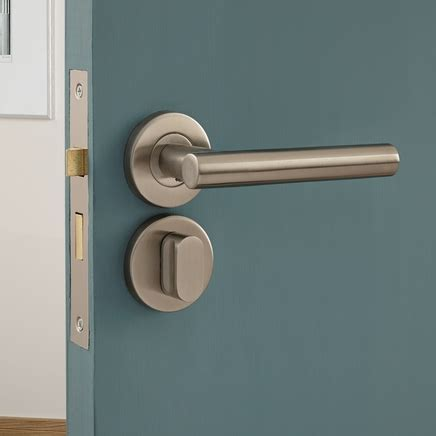 Lecco Satin Stainless Steel Rose Door Handle   Howdens Joinery