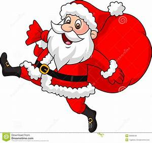 Santa Claus Cartoon Running With The Bag Of The Presents ...