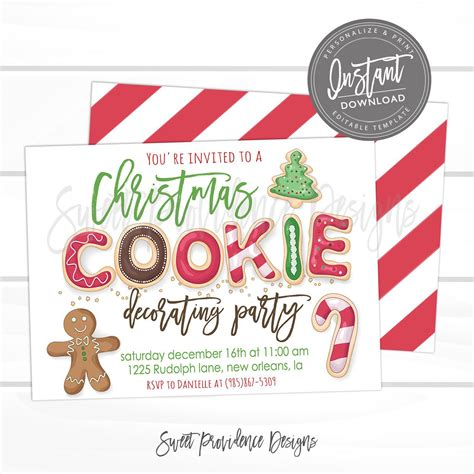 Christmas Cookie Decorating Party Editable Christmas