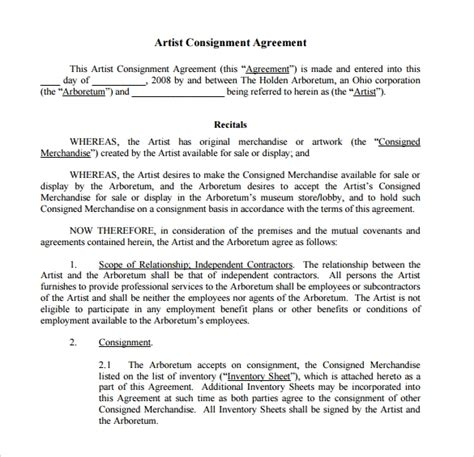 sample consignment agreement templates  google