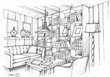 Interior Living Drawing Renderings Pages Sketch Perspective Rendering Colouring sketch template