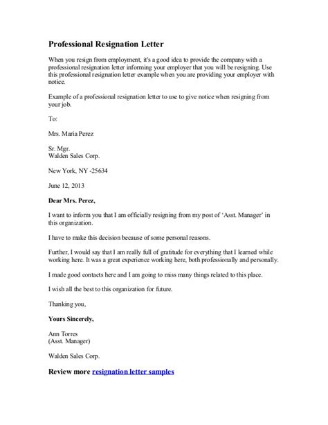 letters of resignation sles professional resignation letter
