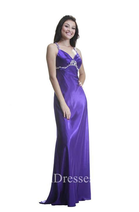 Sheath Sweetheart Long Purple Silk Beaded Prom Dress With ...