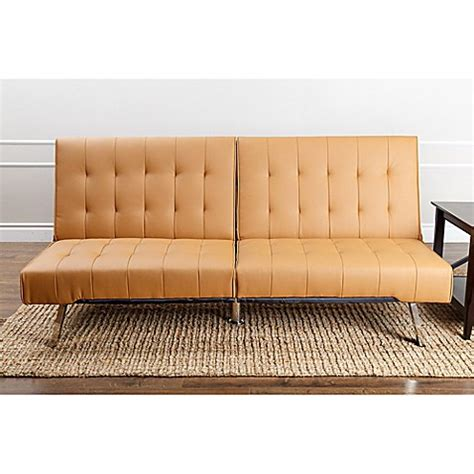 camel faux leather sofa abbyson living jackson faux leather futon sofa bed bath