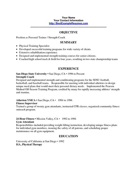 personal trainer resume sle no experience nutritionist