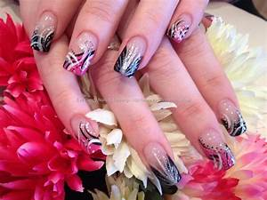 Pink black and white freehand flick nail art over acrylic ...