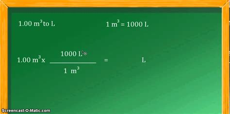 unit conversion cubic meters m 3 to liters l