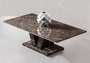 Hera brown grey marble v leg coffee table for Grey marble coffee table set