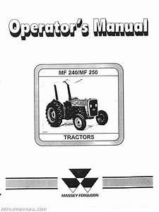 Massey Ferguson Mf240 And 250 Operators Manual