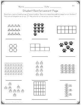 repeated addition arrays worksheets activities and