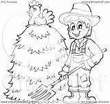 Farmer Hay Pile Clipart Pitchfork Happy Holding Chicken Outlined Illustration Royalty Coloring Template Visekart Vector Pages Sketch sketch template