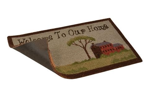 Welcome To Our Home Doormat by No Trax Welcome To Our Home Coir Doormat Vinyl Backed