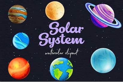 Planets Clipart Watercolor
