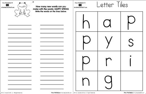 Happy Spring Making Words  A To Z Teacher Stuff Printable Pages And Worksheets  Teaching Free