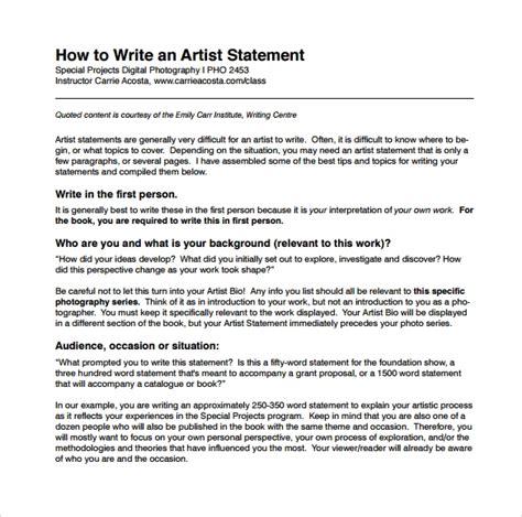sample artist statements