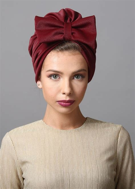 bow style turban  burgundy  turban  stretchy