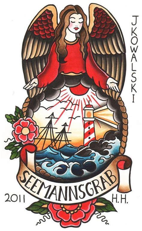 seemanns grab  joe kowalski angel sailor tattoo canvas