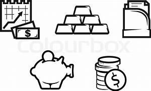Set Of Finance And Economic Symbols Isolated On White