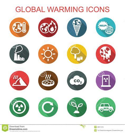 Global Warming Long Shadow Icons Stock Vector ...