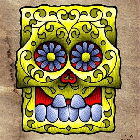 spongebob squarepants sugar skull skulls spongebob