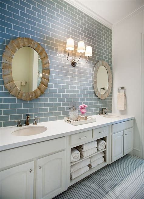 Narrow Bath Floor Cabinet by Frosted Sky Blue Glass Subway Tile Subway Tile