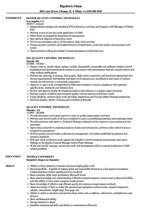 Quality Technician Resume Sle by Quality Technician Resume Sles Velvet