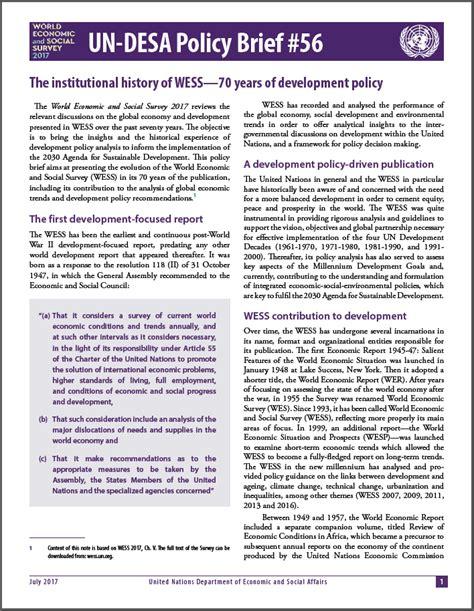 Policy Brief Template Un Desa Policy Brief Economic Analysis Policy Division