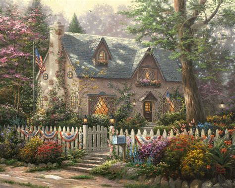 kinkade cottage painting liberty cottage limited edition