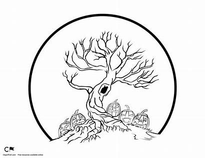 Tree Spooky Coloring Halloween Pages Drawing Clipart