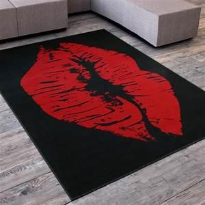 Tapis Noir Et Rouge : tapis salon levre bisous swag noir rouge universol achat vente tapis cdiscount ~ Dallasstarsshop.com Idées de Décoration