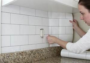 White Subway Tile Temporary Backsplash - The Full Tutorial