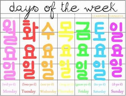 Days Week Korean Learning Learn Hangul Words