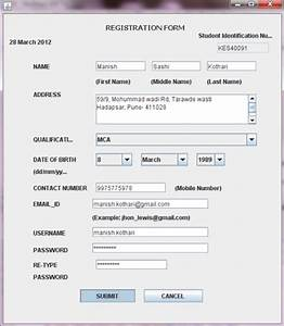 knowledge evaluator software java project code with c With student registration system documentation