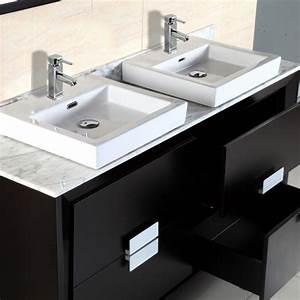 Bellaterra Home 60 U0026quot  Dark Espresso Double Sink Vanity