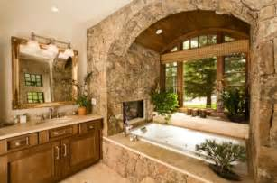 rustic bathrooms designs bathroom fireplaces a luxurious and welcomed accent feature