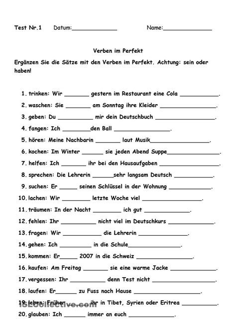 german printable worksheets for high school students