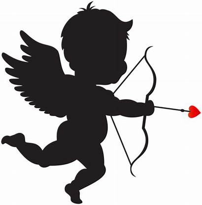Cupid Clip Silhouette Bow Clipart Valentine Transparent