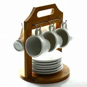 Support Tasse à Café : 6 tasses caf sur support bambou maison fut e ~ Teatrodelosmanantiales.com Idées de Décoration