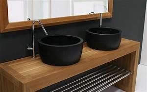 vasque salle de bain noir With salle de bain design avec vasque noire castorama