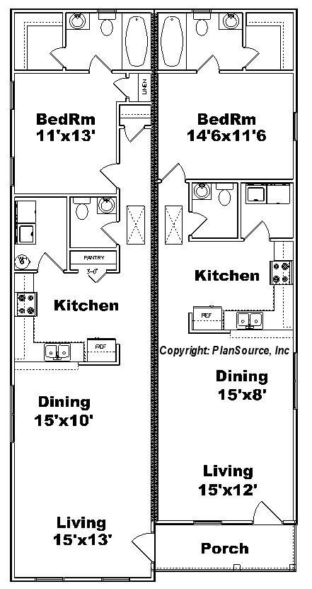 duplex floor plans for narrow lots one bedroom duplex plan j0814 12d plansource inc