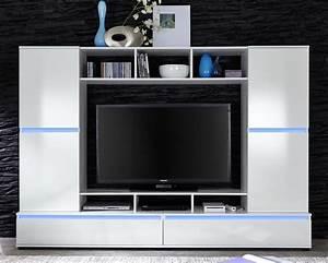 Meuble Tv Mur : meuble tv laqu blanc led milo ~ Teatrodelosmanantiales.com Idées de Décoration