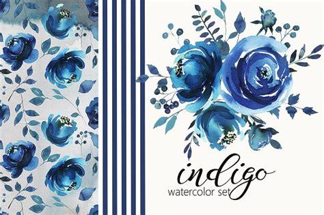 indigo blue watercolor flowers set kreativ graphic
