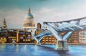 Painting of St.Paul's Cathedral with the Millennium Bridge