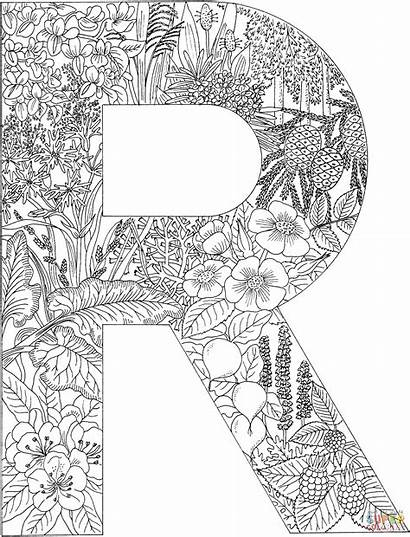 Coloring Letter Pages Adult Letters Alphabet Printable