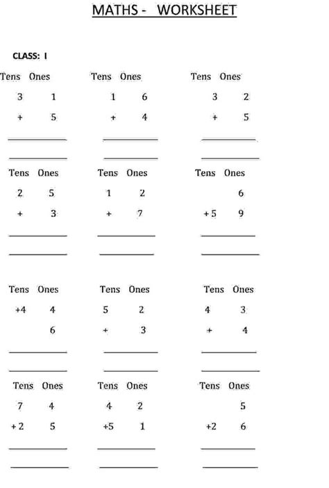 worksheet for class 1 maths addition addition calculation class 1 maths worksheet