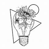 Sunflower Drawing Easy Pencil Rose Broken Sketch Lightbulb Inside Disegni Draw Flowers Fiori Colorare Drawings Flower Sketches Roses Dessin Sunflowers sketch template