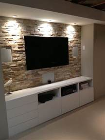 steinwand wohnzimmer ideen basement entertainment center with ikea cupboards http www shannacreations ca html