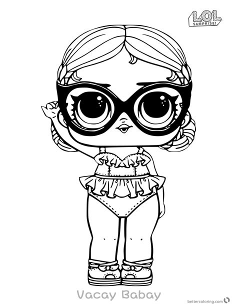 Kleurplaat Lol by Lol Doll Coloring Pages Vacay Babay Free